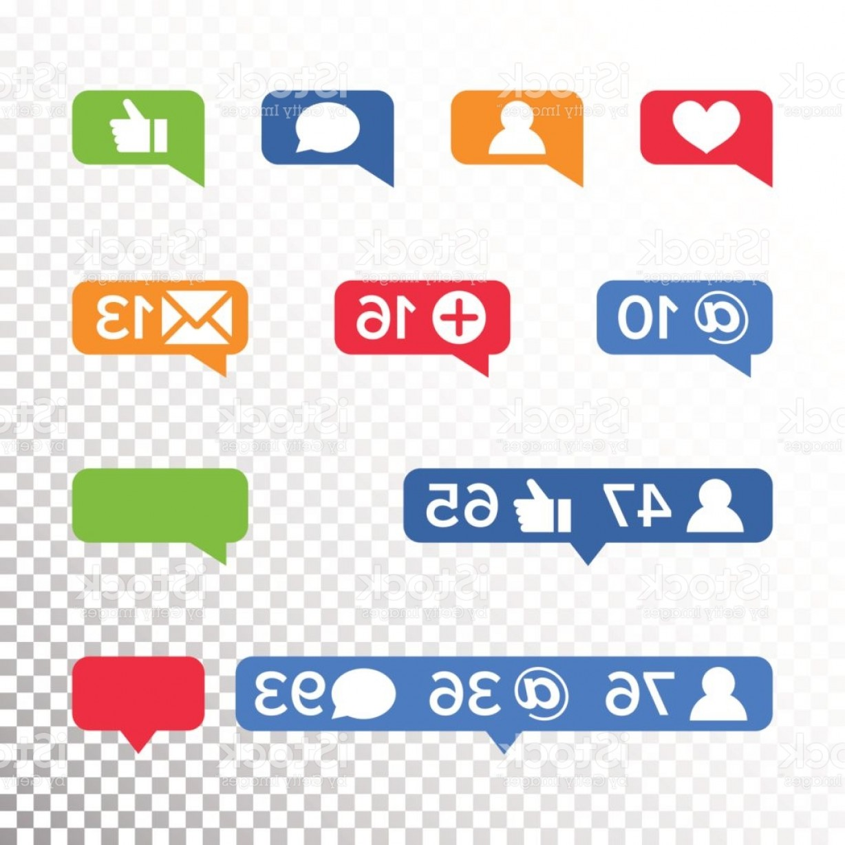 Official Instagram Icon Vector: Notifications Icons Template Vector Like Symbol Message And Notification Set Gm