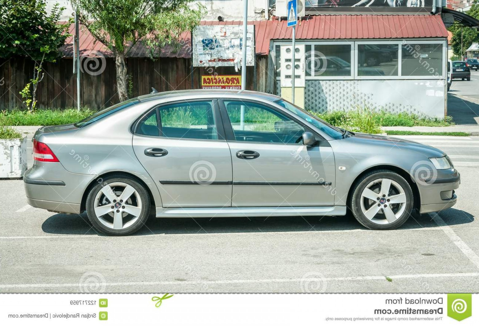 Saab 9 3 Vector Clip Art: Novi Sad Serbia July New Silver Saab Car Parked Street City Editorial Image Image