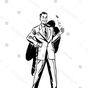 Vector Retro Man Flipping Coin: Attractive Man Flipping Coin Studio