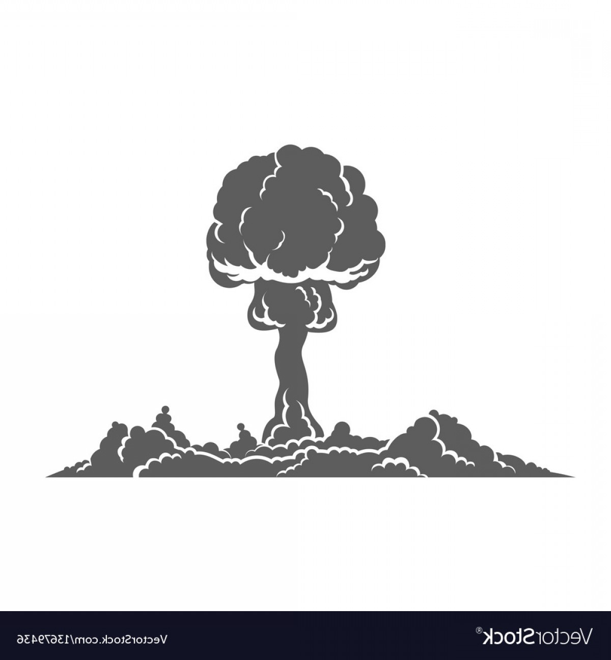 Atomic Bomb Explosion Vector: Nuclear Explosion Silhouette Concept Vector