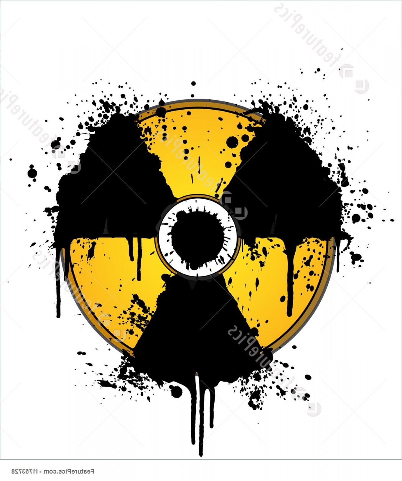 Radioactive Symbol Vector: Nuclear Symbol Ink Splatter Yellow Black