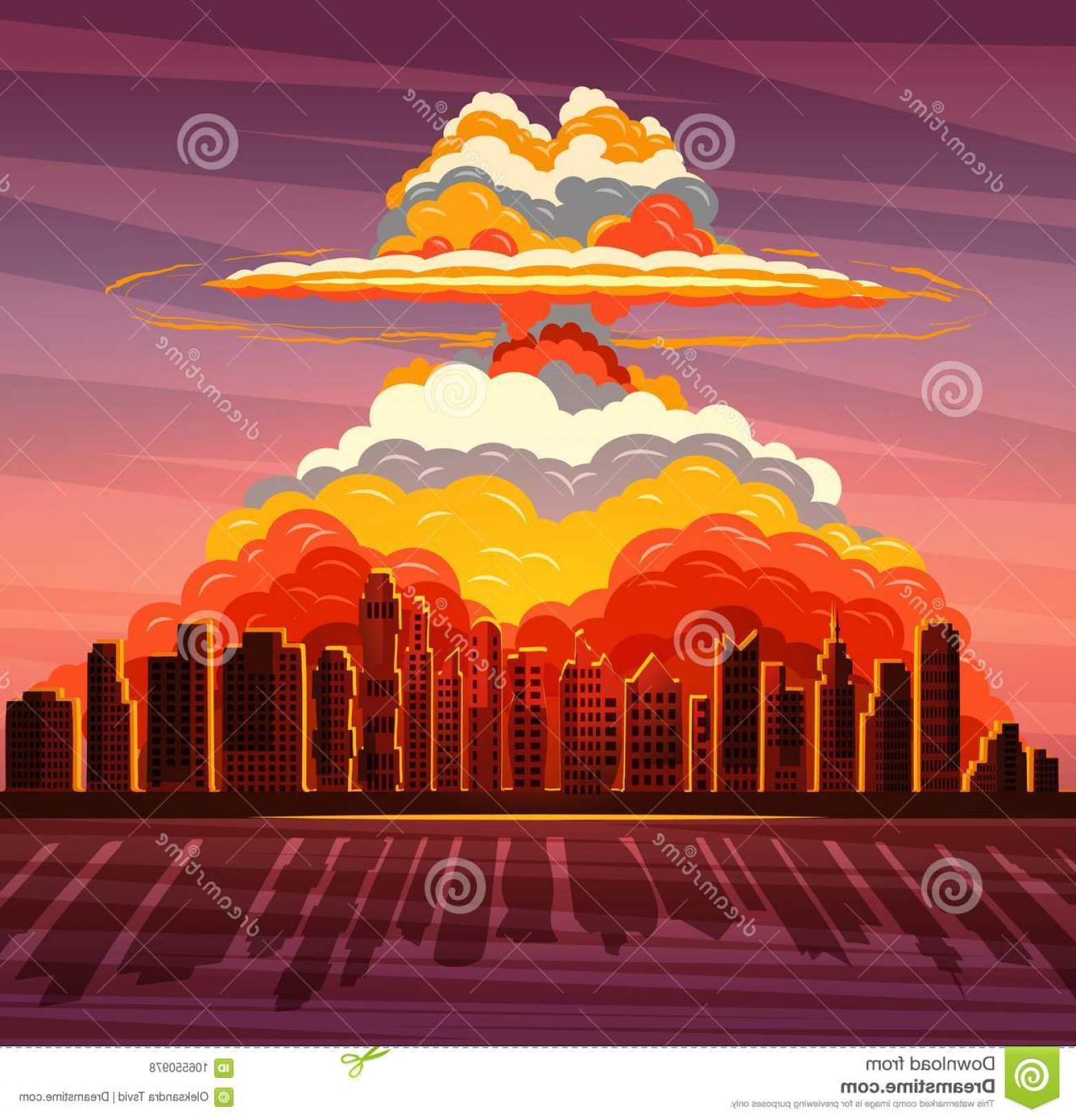 Atomic Bomb Explosion Vector: Nuclear War Atom Bomb Falling Big City Vector Illustration Nuclear Explosion Atom Bomb Falling Big City Image