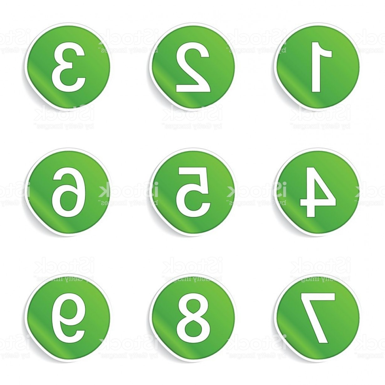 Button Icon Vector: Numbers Counting Green Vector Button Icon Design Set Gm