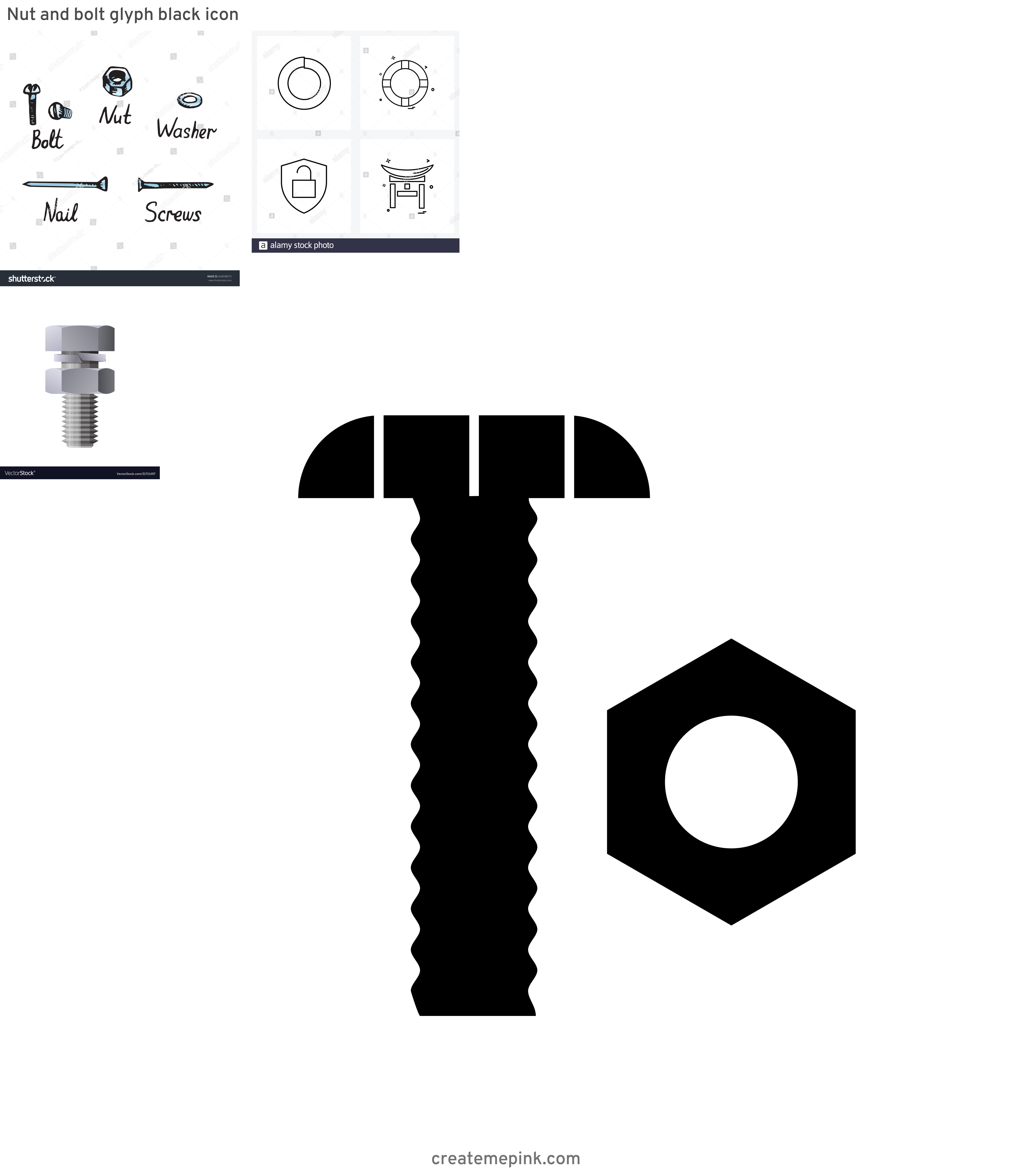 White Washer Bolt Vector: Nut And Bolt Glyph Black Icon