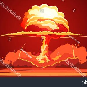 Atomic Cloud Vector: Nuclear Explosion Rising Orange Fireball Atomic
