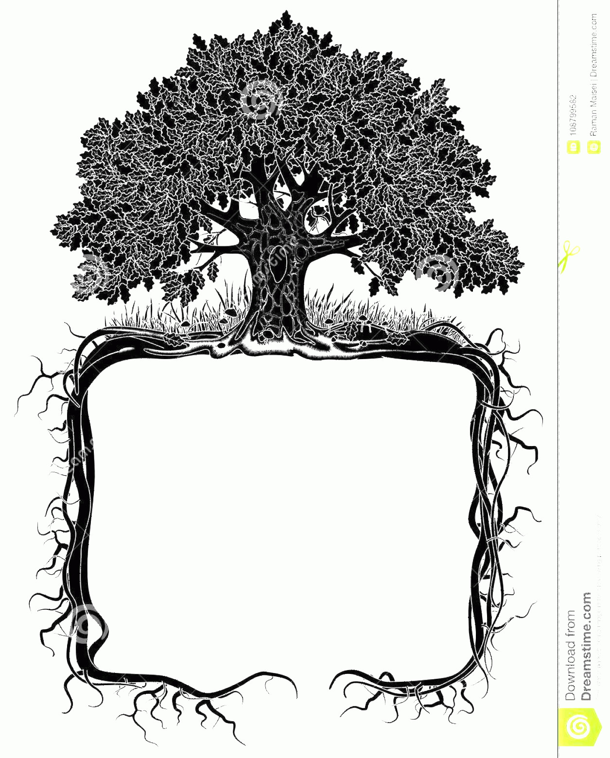 Vector Tree With Roots Drawing: Oak Tree Roots Frame Artistic Banner Page Design Vintage Engraving Stylized Drawing Vector Illustration Image