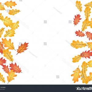 Red Oak Tree Vector: Oak Leaf Vector Frame Border Illustration