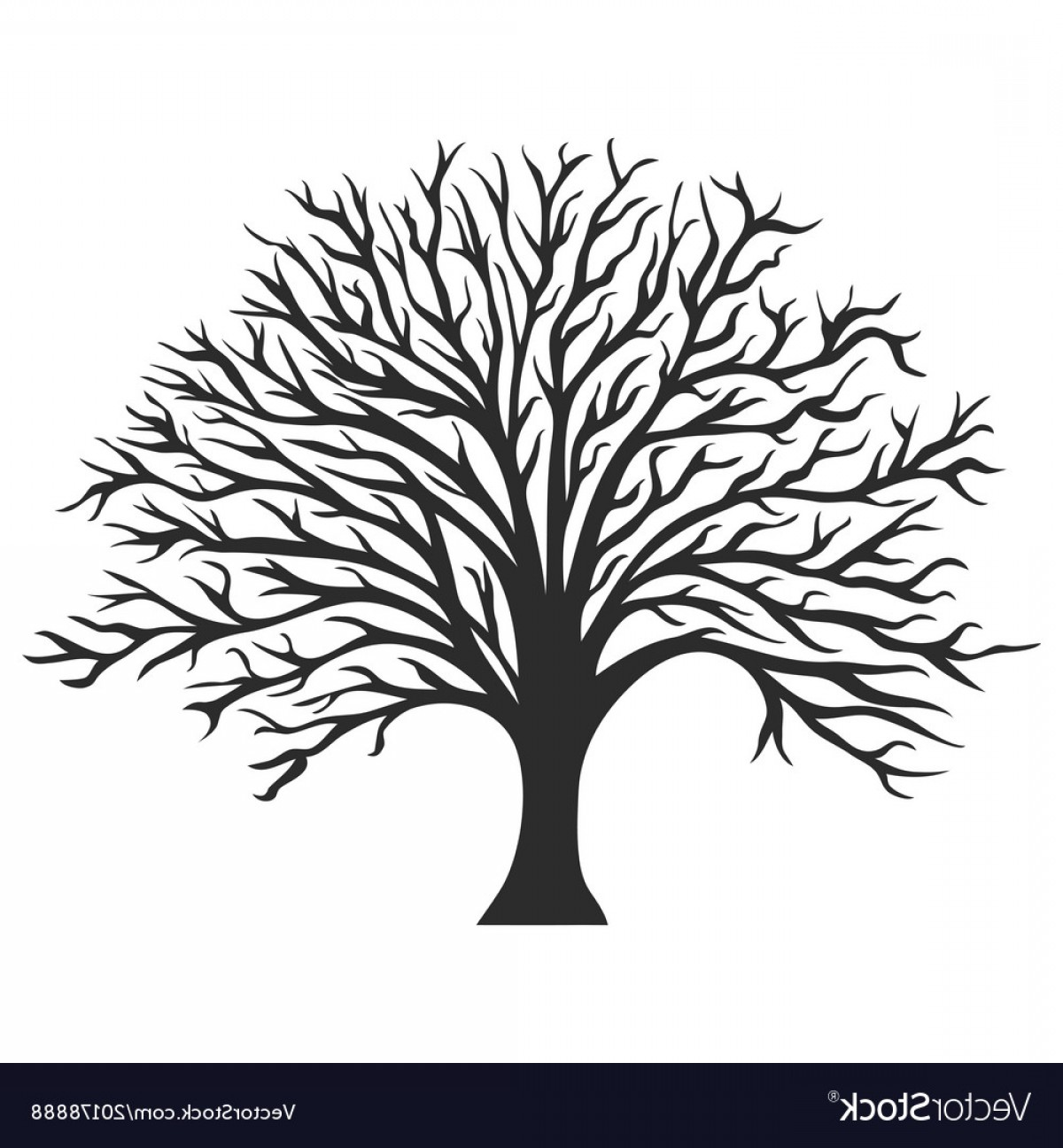 Oak Tree Silhouette Vector Graphics: Object Oak Tree Silhouette Vector