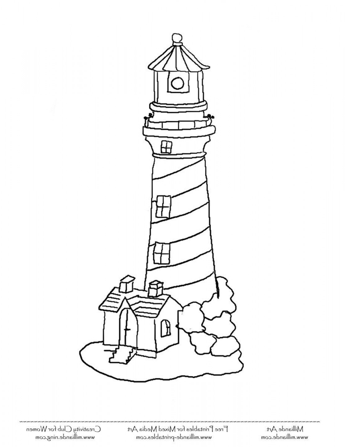 Jupiter Lighthouse Vector: Ocean Coloring Pages For Kids Lighthouse
