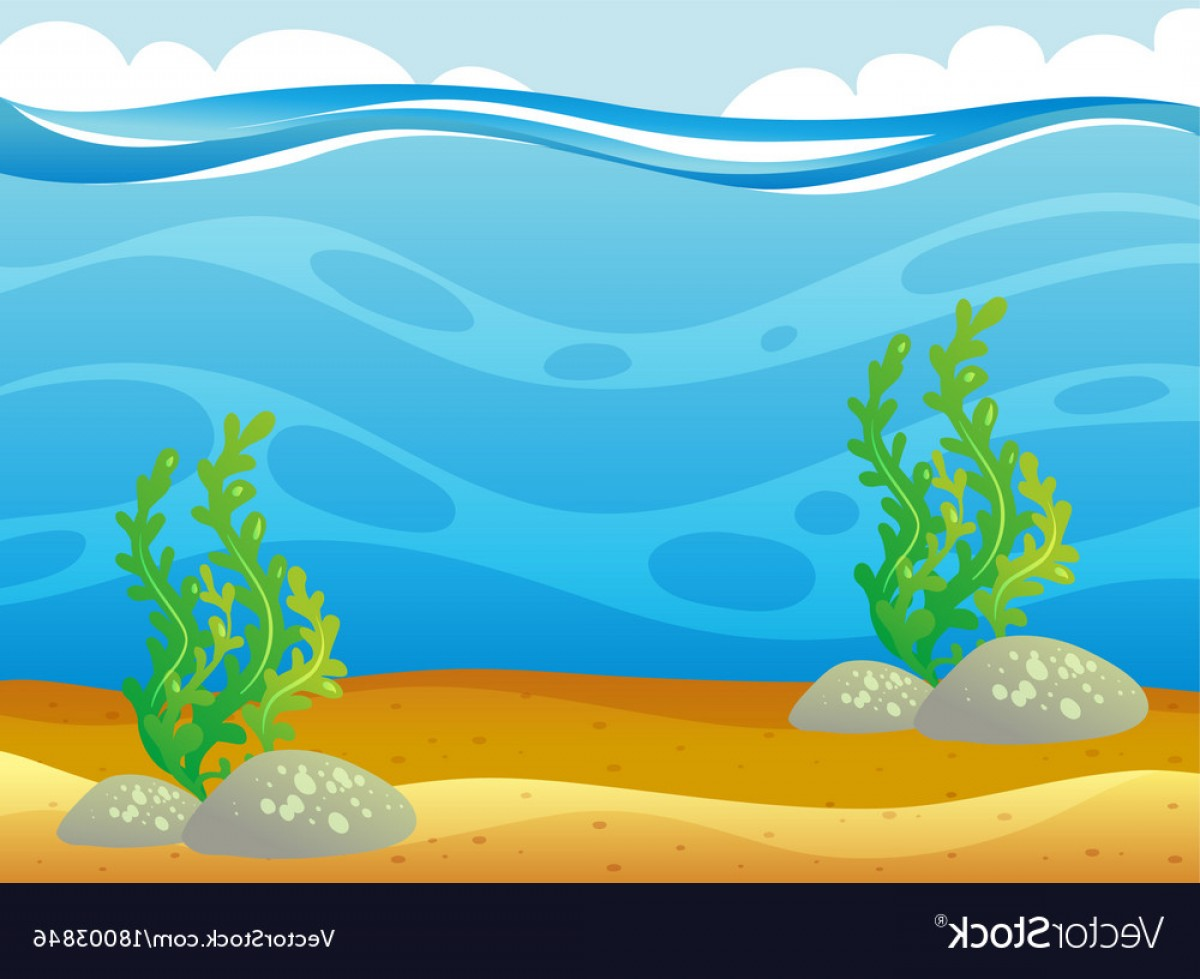 Underwater Sea Vector Art: Ocean Scene With Seaweed Underwater Vector