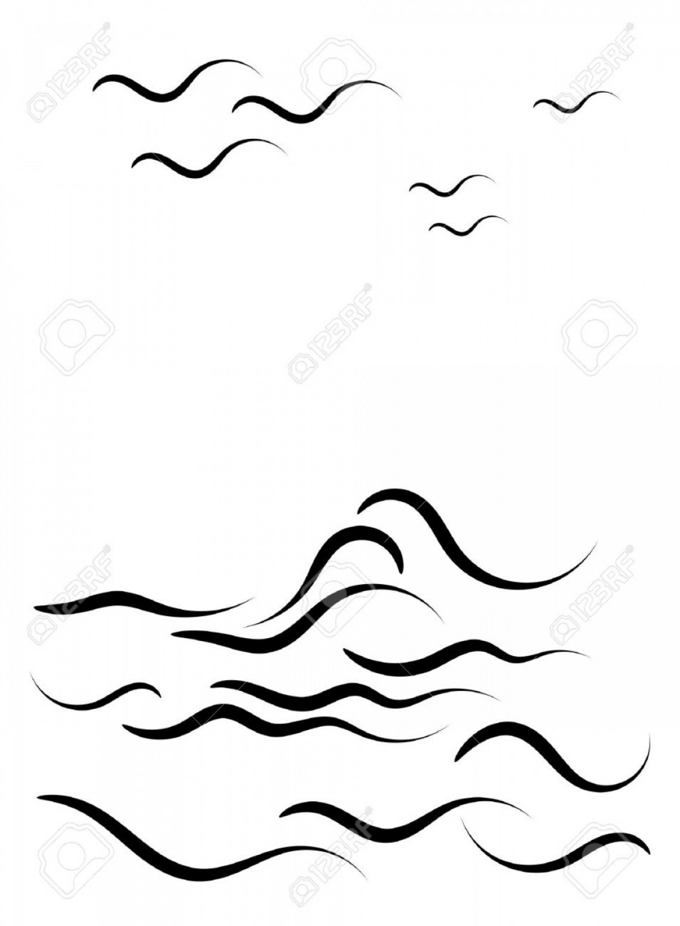 Ocean Water Clip Art Vector: Ocean Water Clipart Black And White