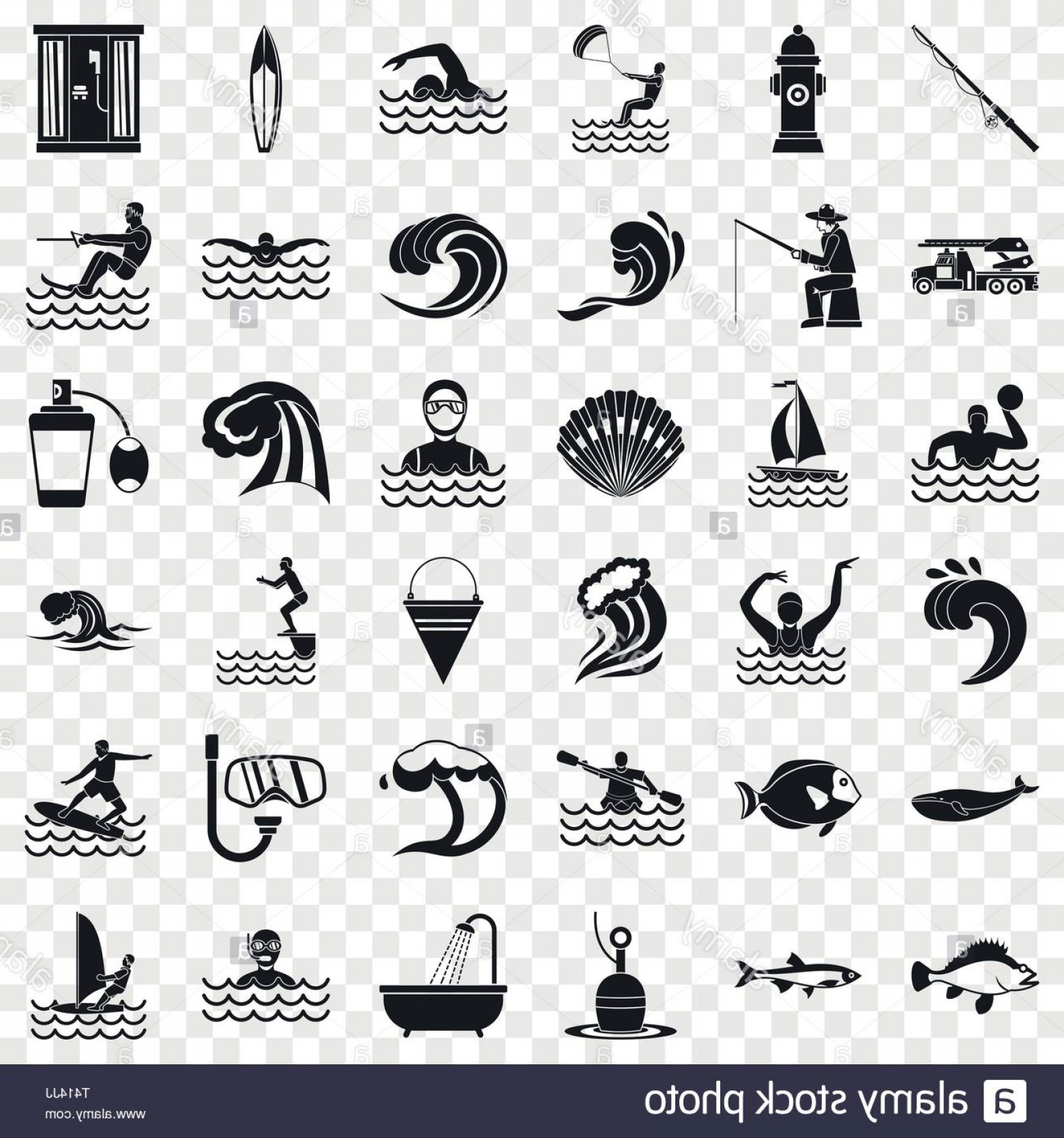 Ocean Water Clip Art Vector: Ocean Water Icons Set Simple Style Image