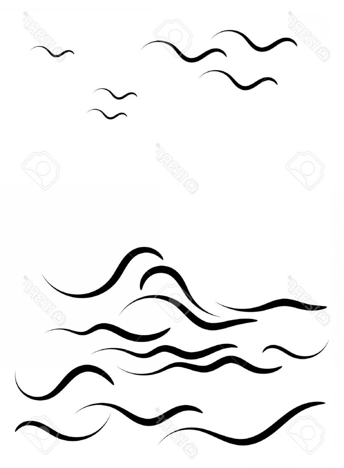 Awesome Ocean Wave Vector: Ocean Waves Clipart Black And White