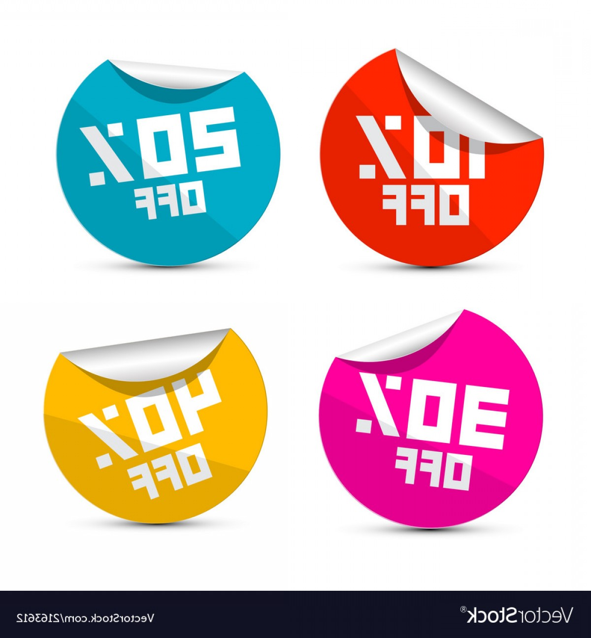 Vector Lables: Off Off Off Off Stickers Labels Vector