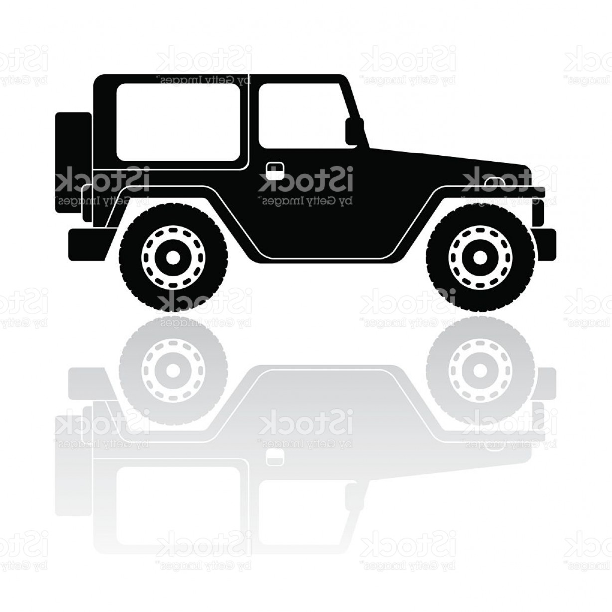 Jeep Off-Road Vector Art: Off Road Vehicle Silhouette Vector Icon Gm