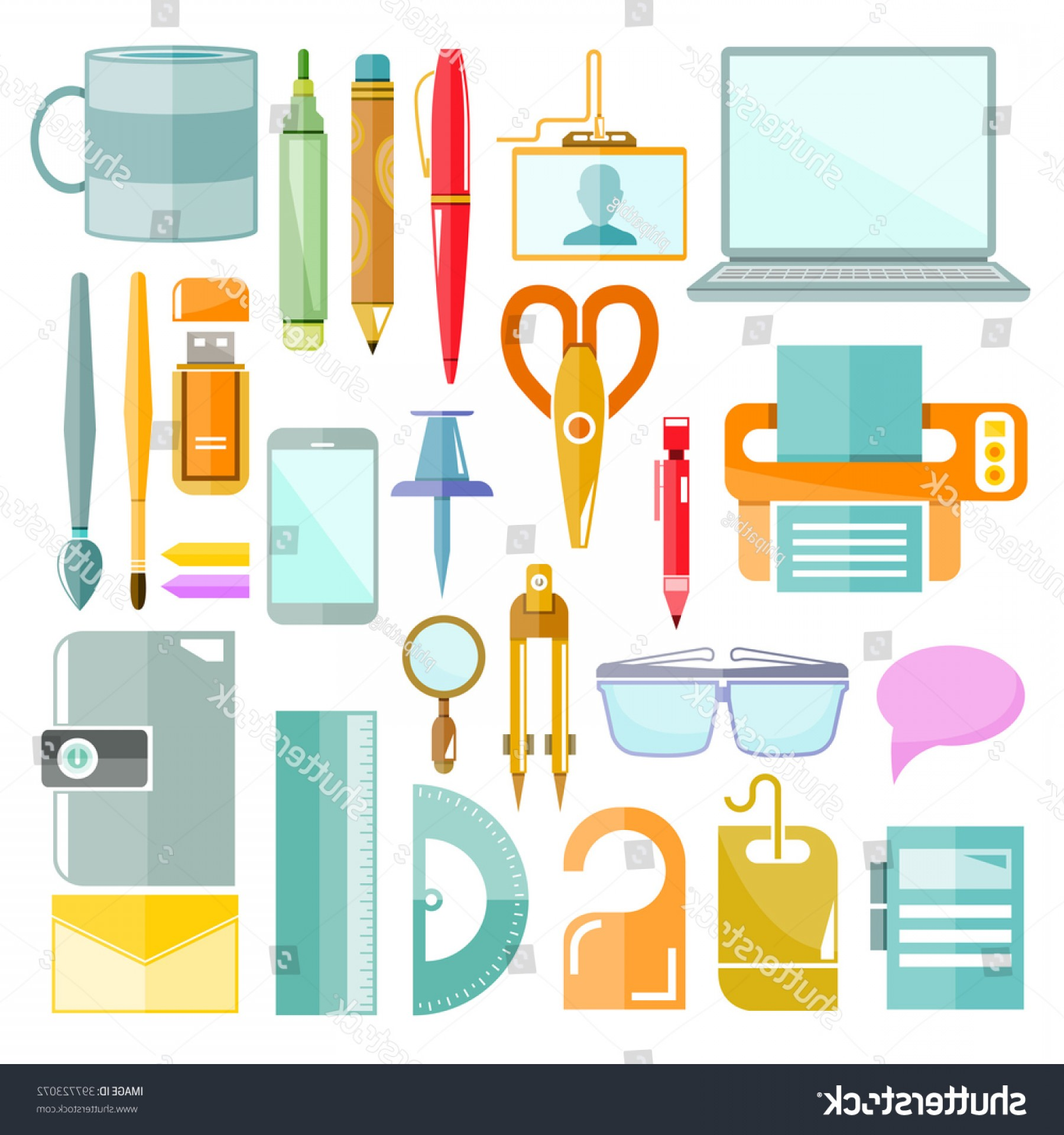Individual School Supplies Vector: Office Table Flat Vector Supplies Stationery