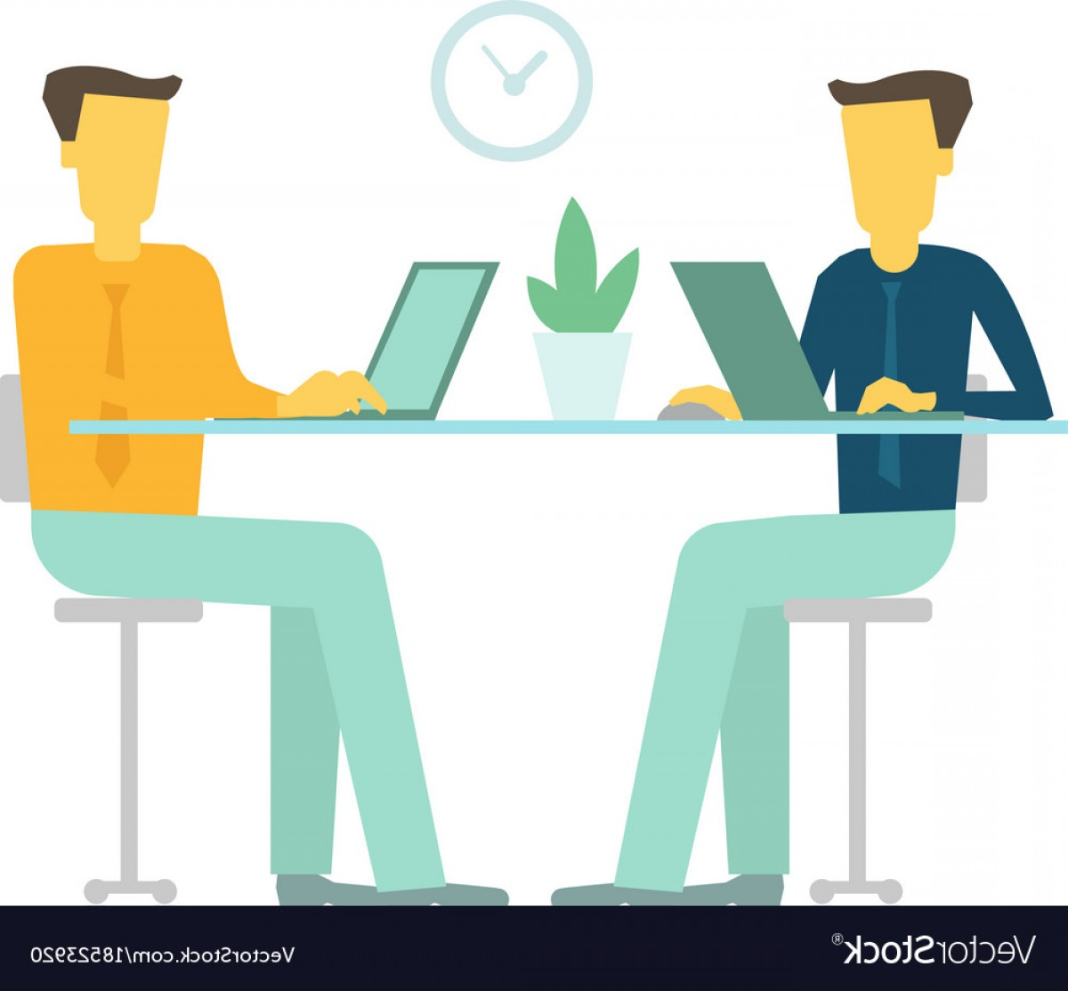 Two People Talking Vector Art: Office Two People Team Business People Talking Sit Vector