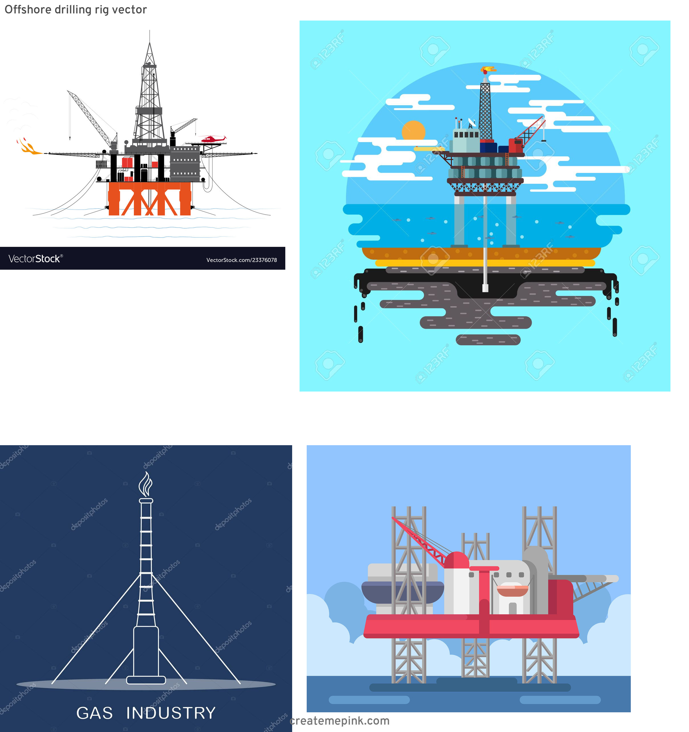 Gas Rig Vector: Offshore Drilling Rig Vector