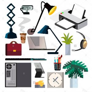 Screen Printing Equipment Vector: Office Equipment Set Vector Pc Smartphone Printer Icons Business Workplace Stationery Office Things Isolated Flat Illustration Image