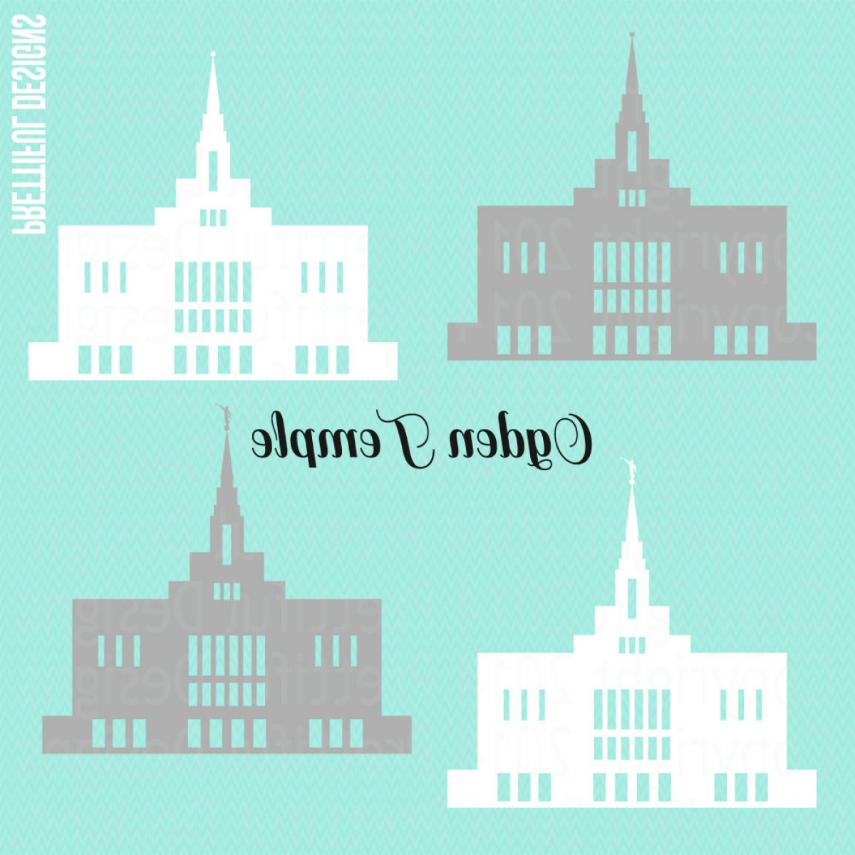 Salt Lake City Temple Vector: Ogden Temple Utah Lds Mormon Clip Art