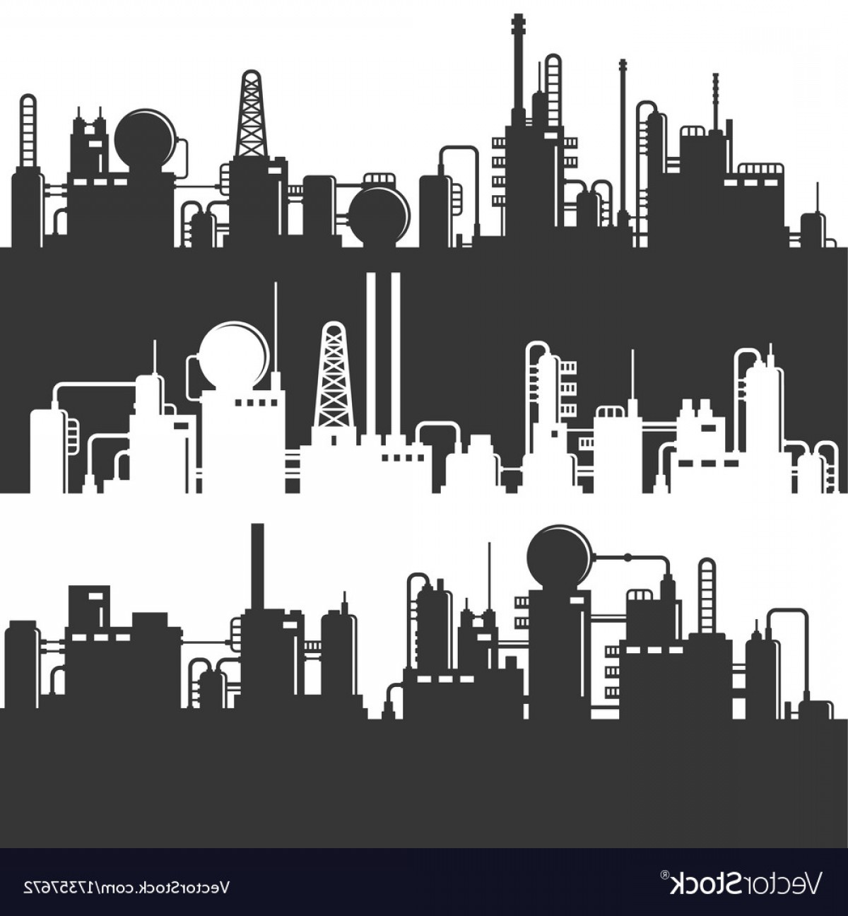 Factory Vector Skyline: Oil And Gas Refinery Power Plant Silhouette Vector
