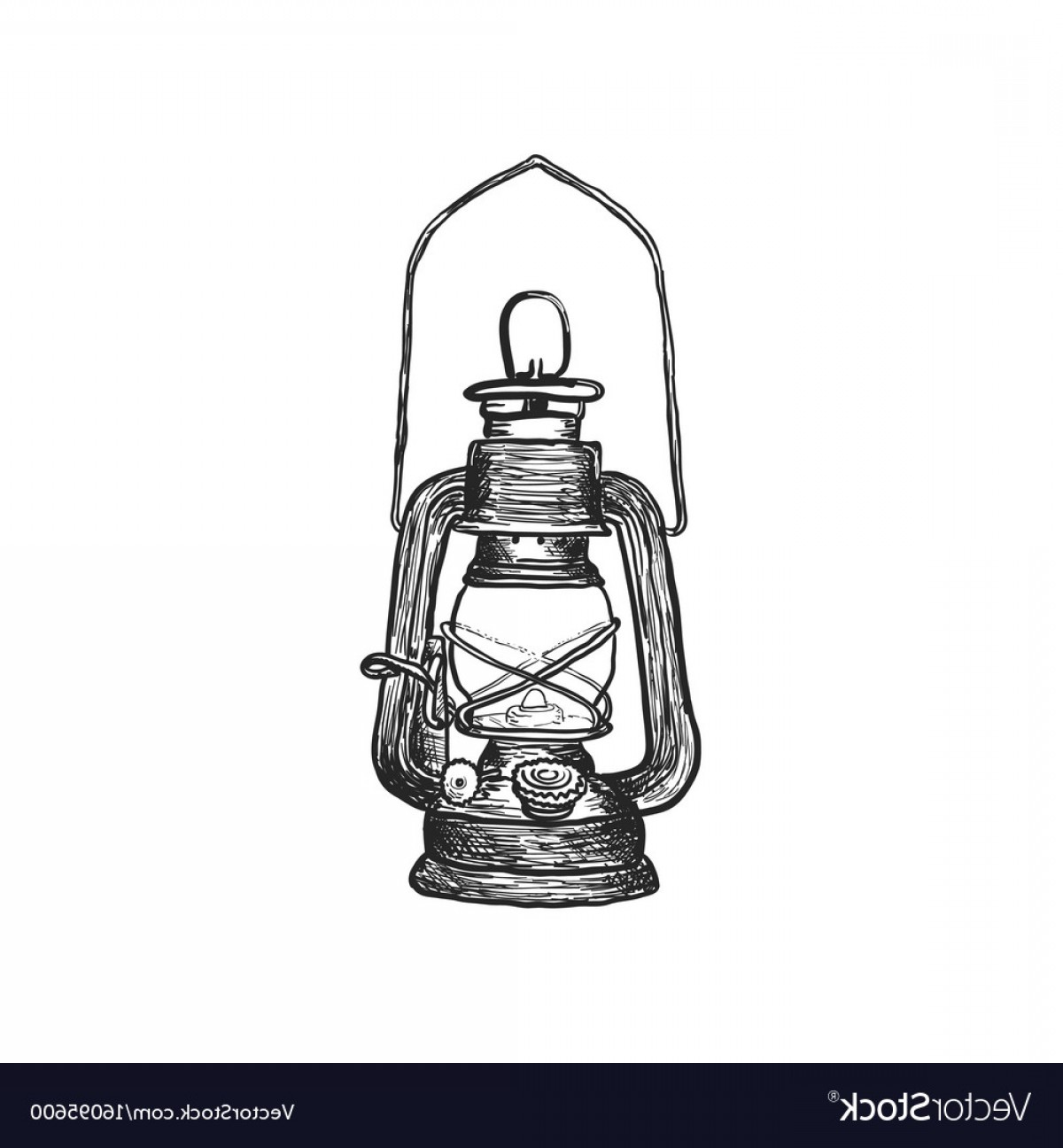Boba Fett Vector Black And White: Oil Lamp Vintage Hand Drawn Lanterns Vector