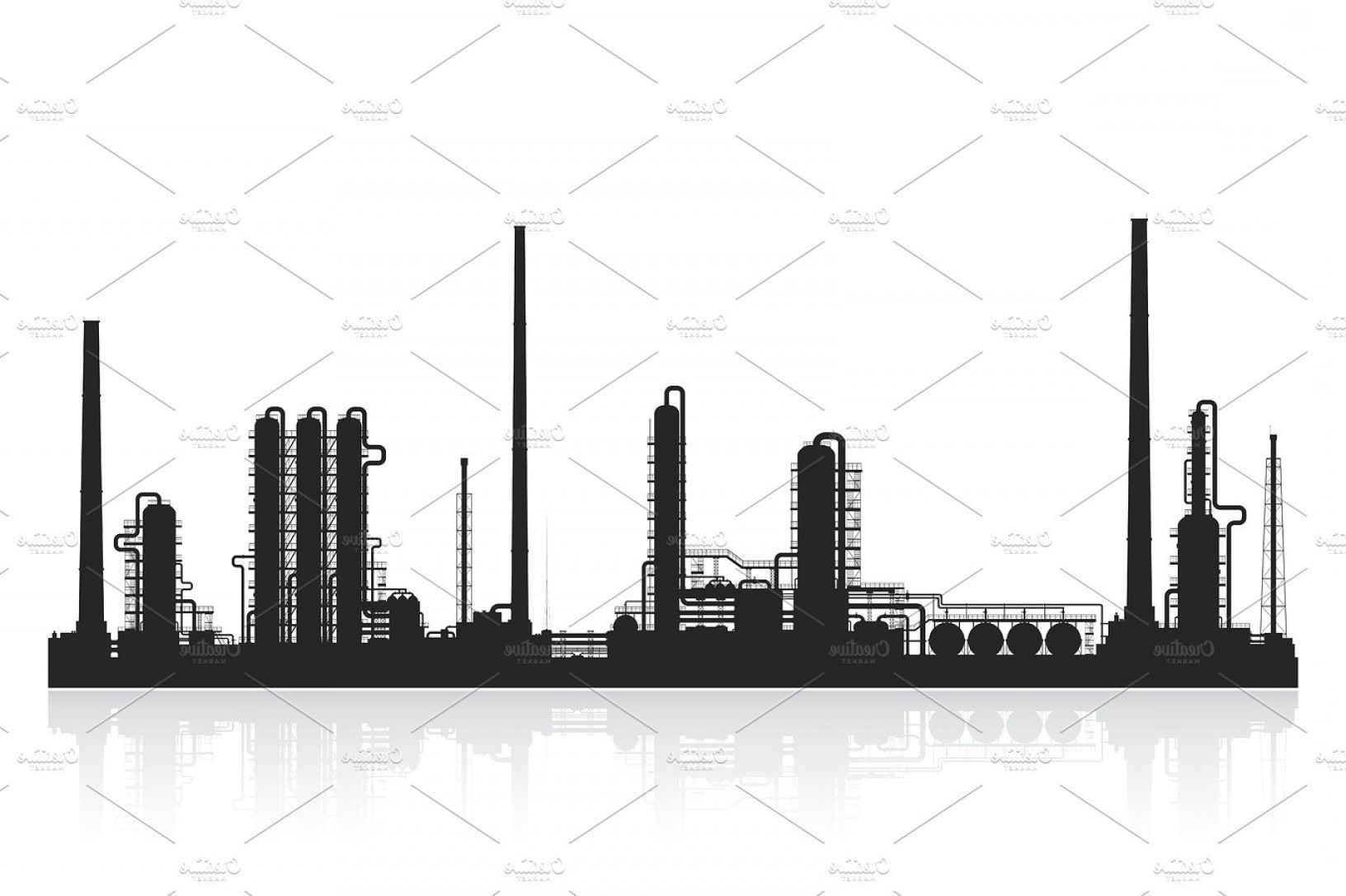 Factory Vector Skyline: Oil Refinery Or Chemical Plant Silhouette