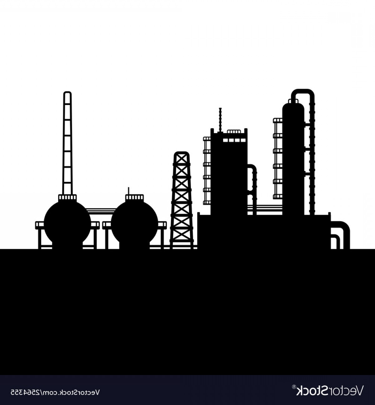 Factory Vector Skyline: Oil Refinery Plant And Chemical Factory Silhouette Vector