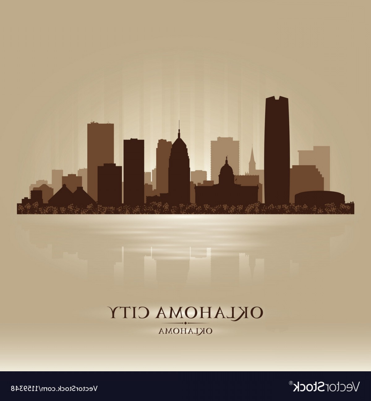 Wicked Boston Skyline Silhouette Vector: Oklahoma City Skyline Silhouette Vector