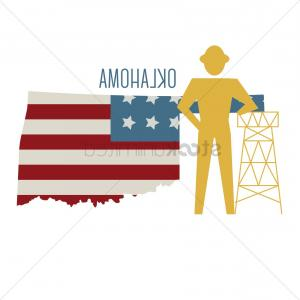 Oklahoma Flag Vector: Oklahoma State Map With Oil Rig