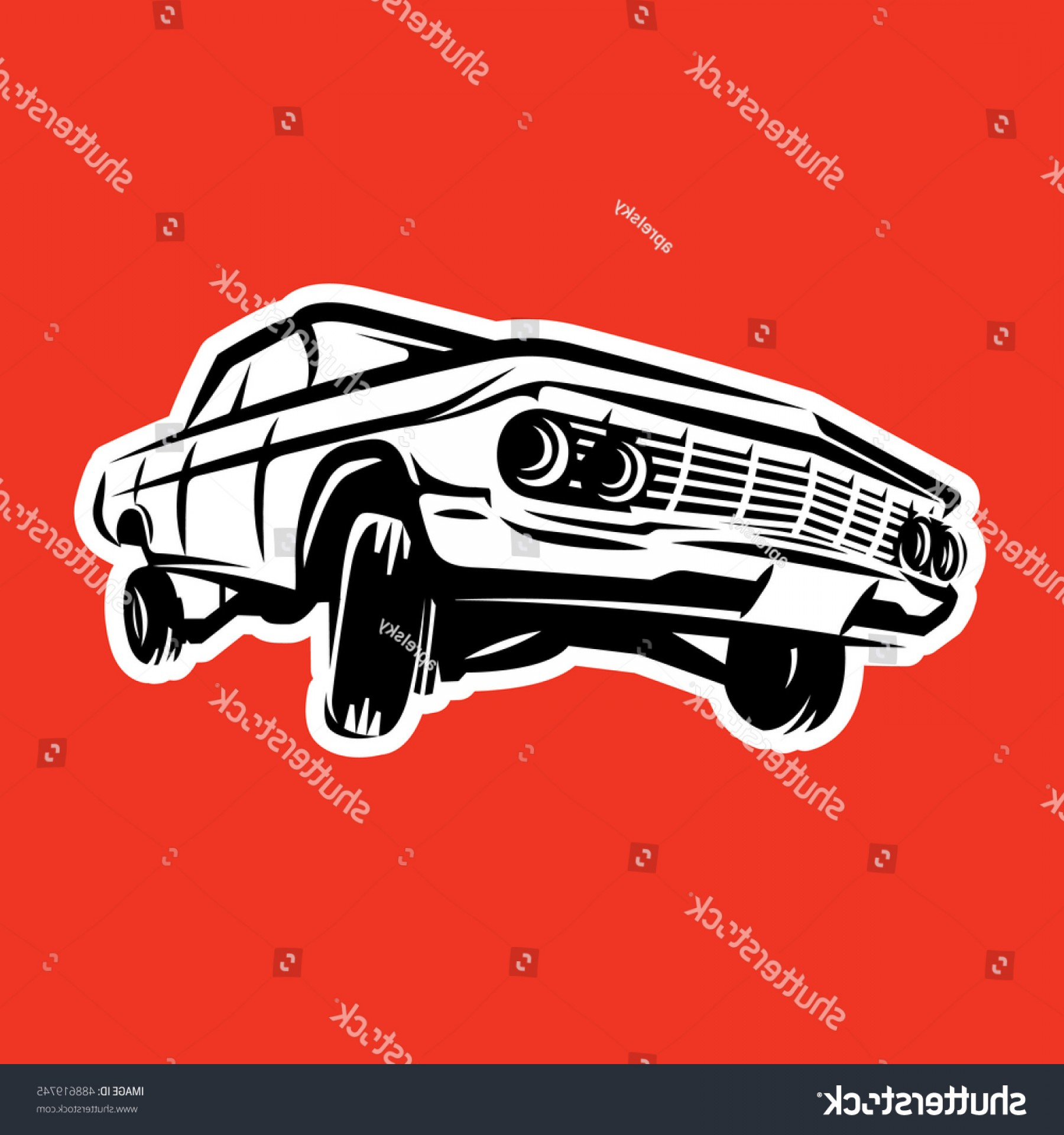 Lowrider Vector: Old American Lowrider Car Vector Illusration