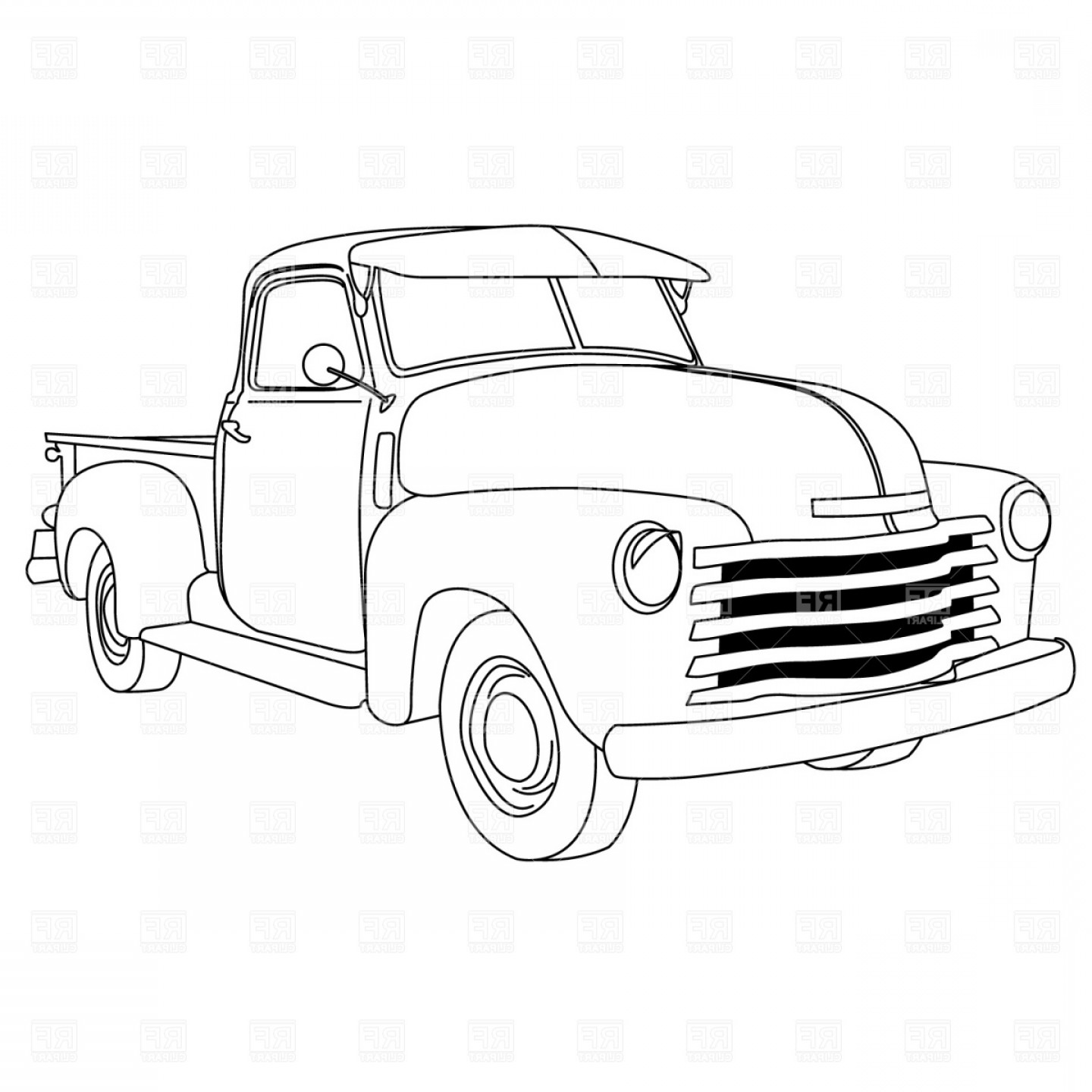 Lowrider Vector: Old American Pick Up Truck Vector Clipart