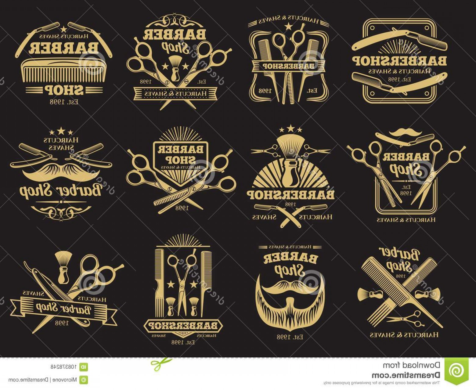Golden Barber Vector: Old Barbershop Vector Emblems Labels Old Golden Barbershop Vector Emblems Labels Vintage Male Haircut Signs Illustration Image