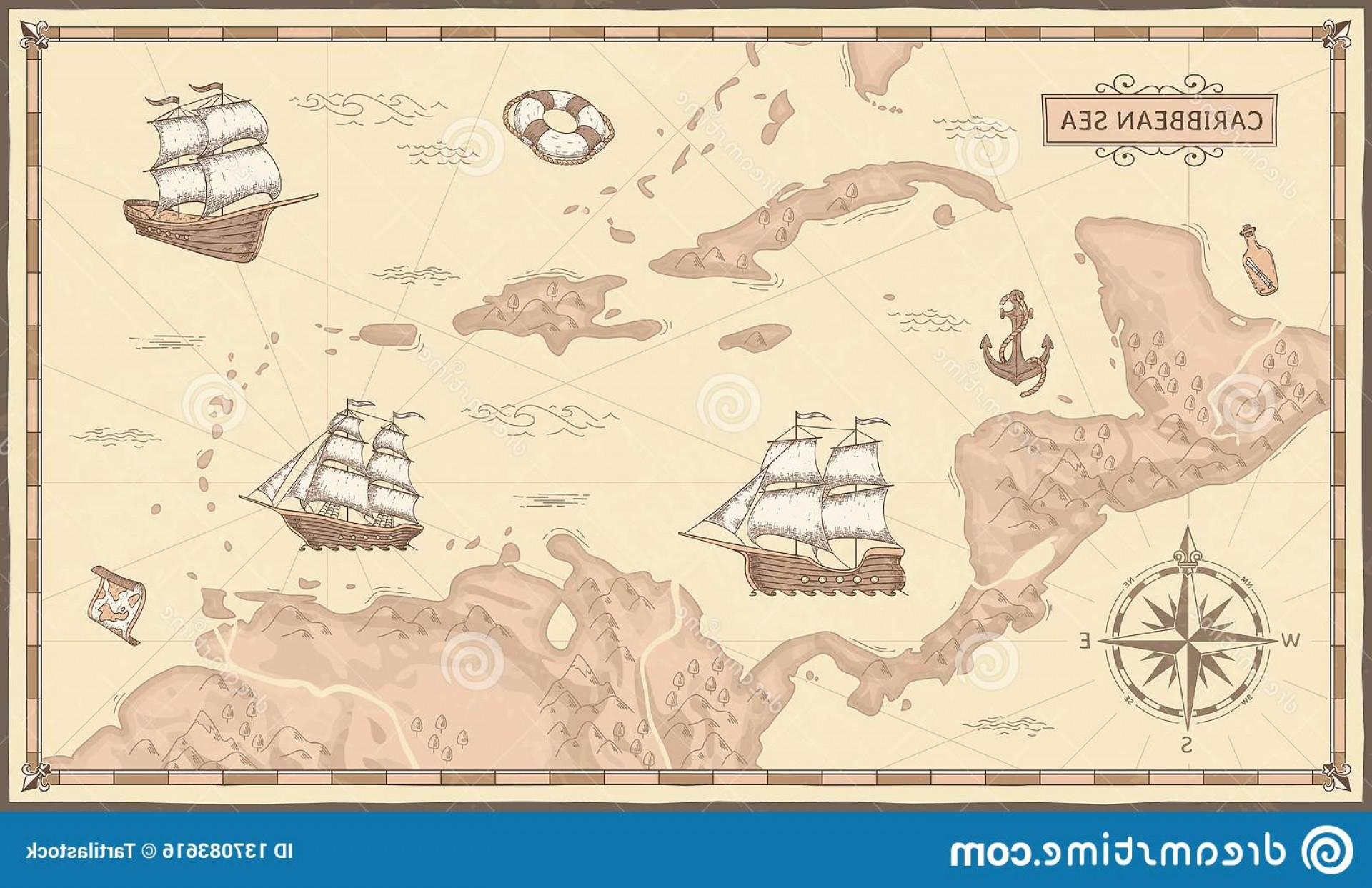 Vintage Map Clipart- Vector: Old Caribbean Sea Map Ancient Pirate Routes Fantasy Pirates Ships Vintage Maps Vector Concept Illustration Marine Nautical Image