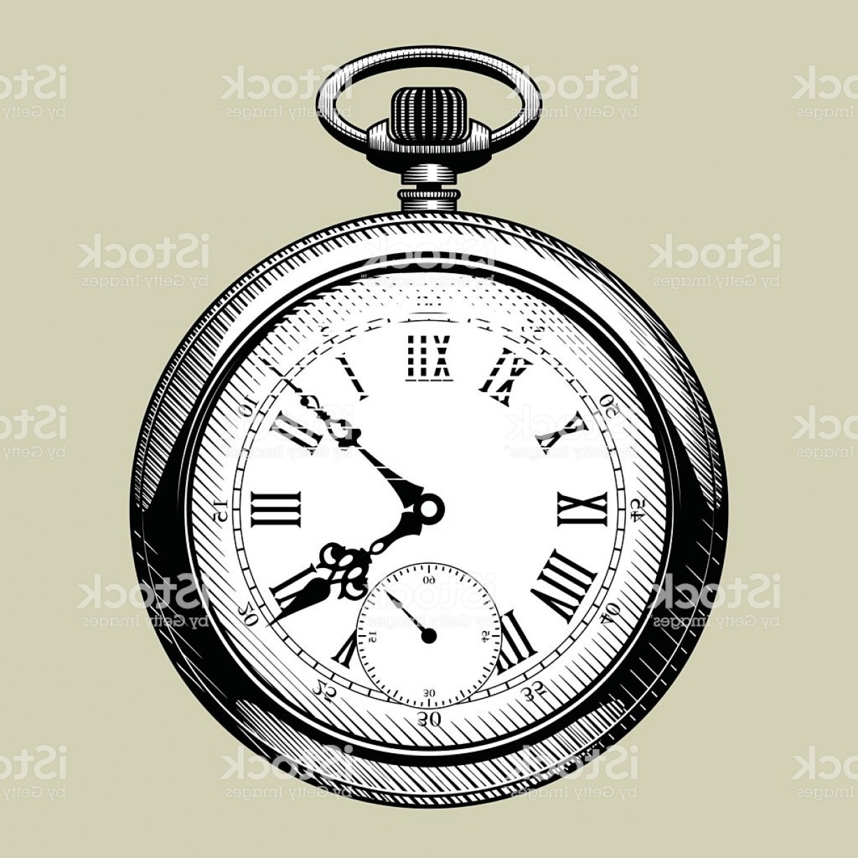 Stop Watch Vector Ai File: Old Clock Face Retro Pocket Watch Gm