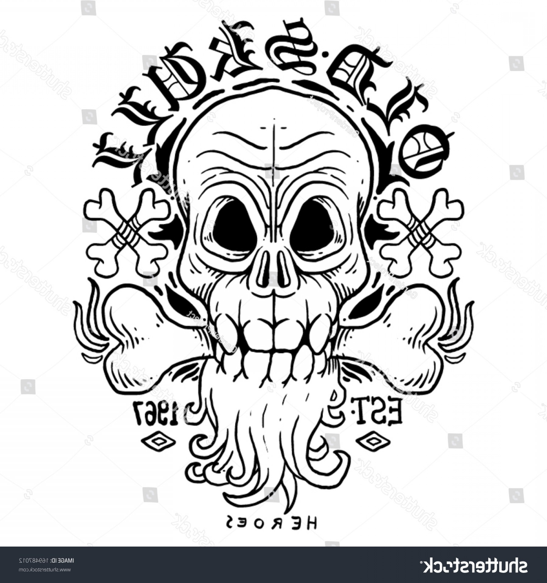 His And Hers Skulls Vector: Old Human Skull Vector Blackwhite