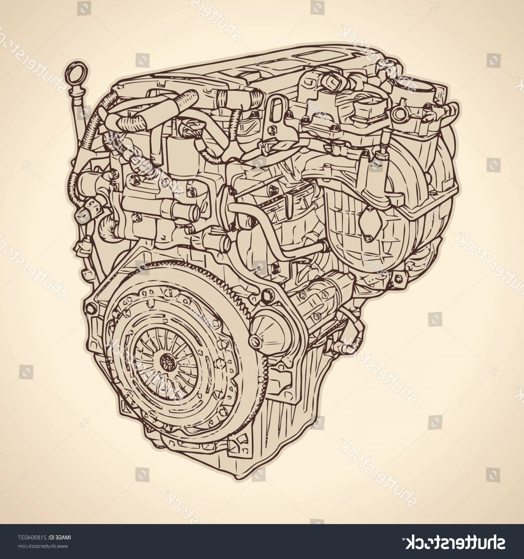 Combustible Engine Vector: Old Internal Combustion Engine Drawing Vector