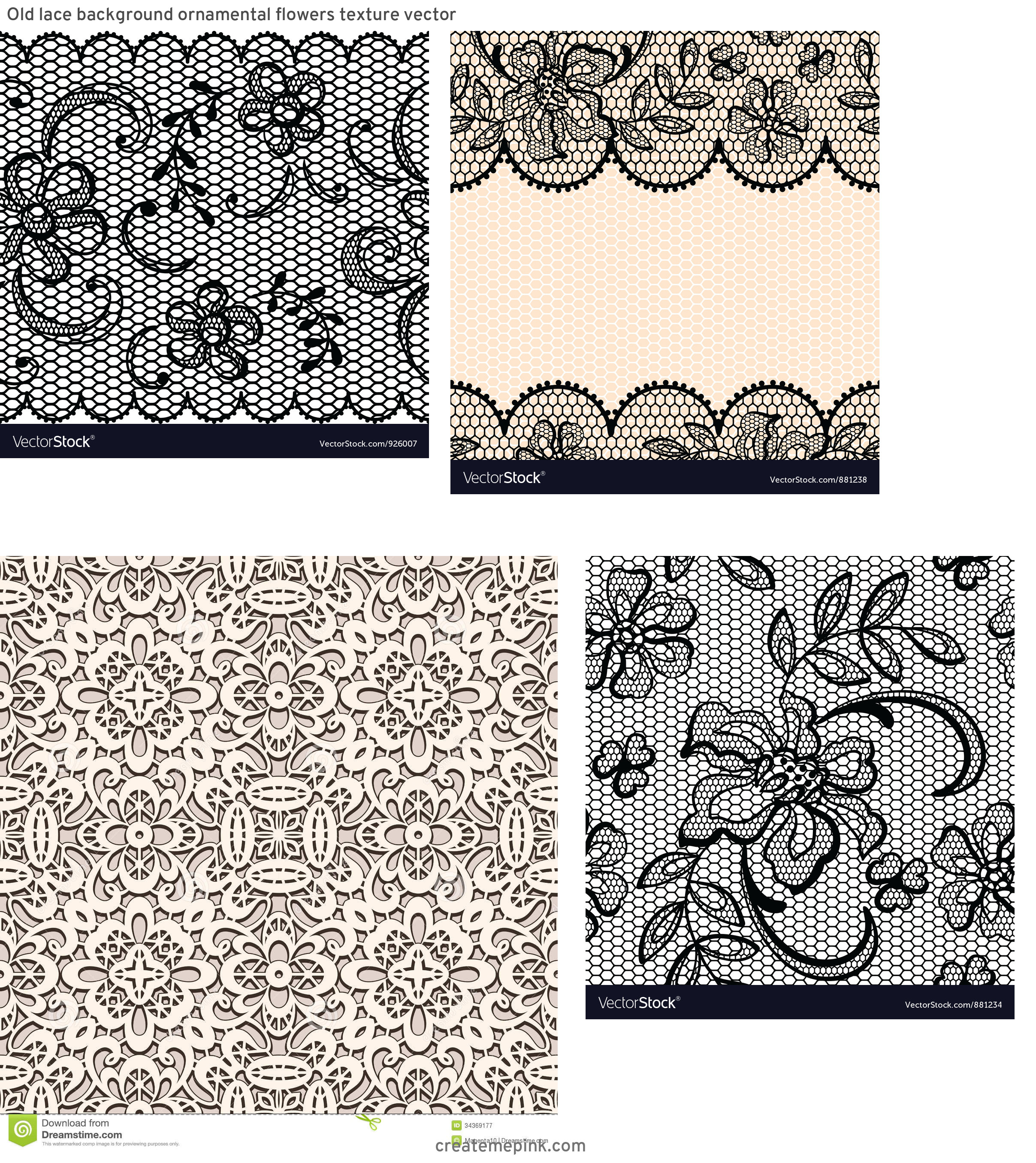 Vector Old Lace Black: Old Lace Background Ornamental Flowers Texture Vector