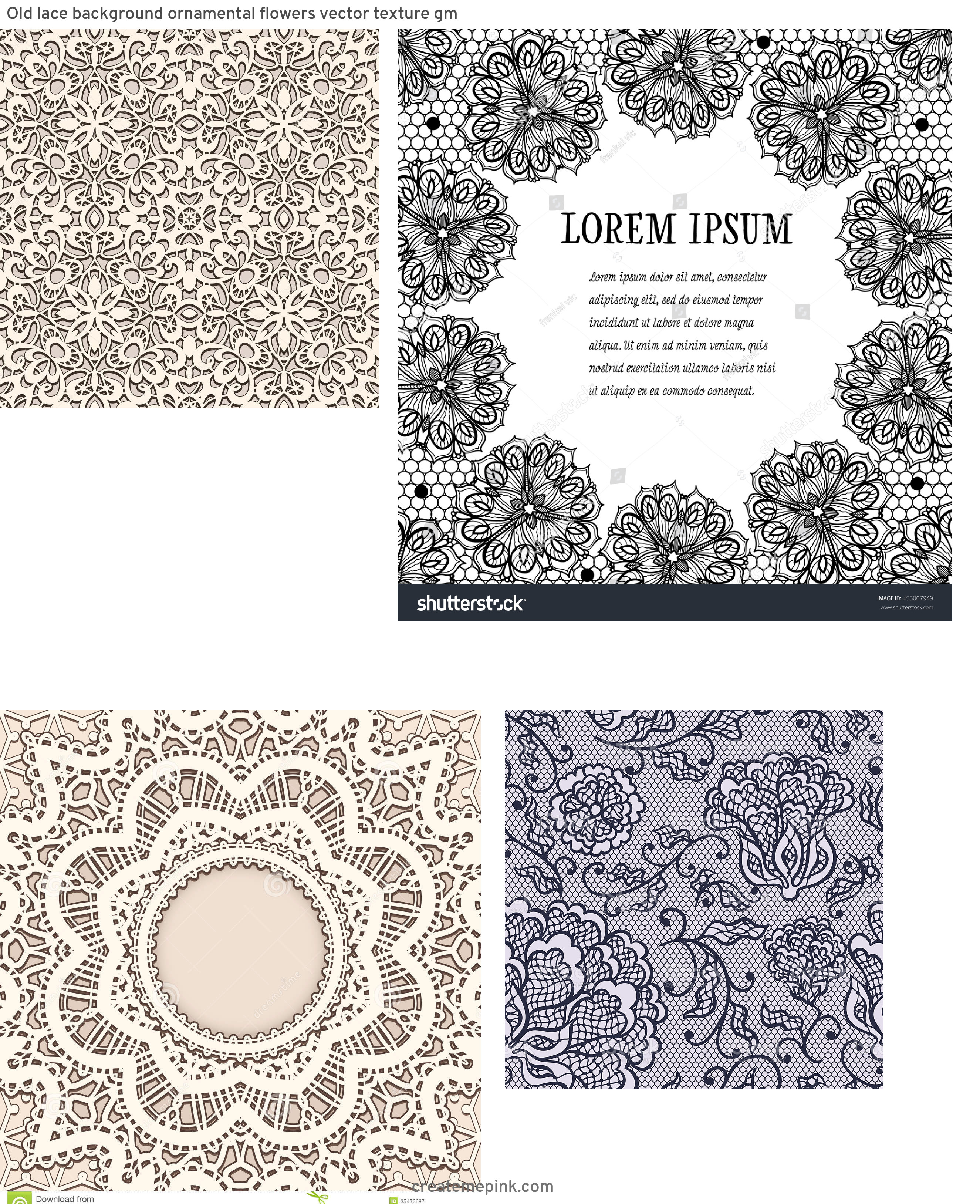 Vector Old Lace Black: Old Lace Background Ornamental Flowers Vector Texture Gm