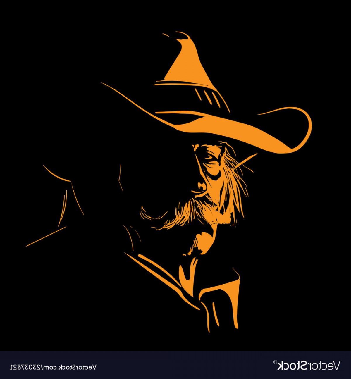 Praying Cowboy Vector: Old Man With Cowboy Hat And With Mustache Digital Vector