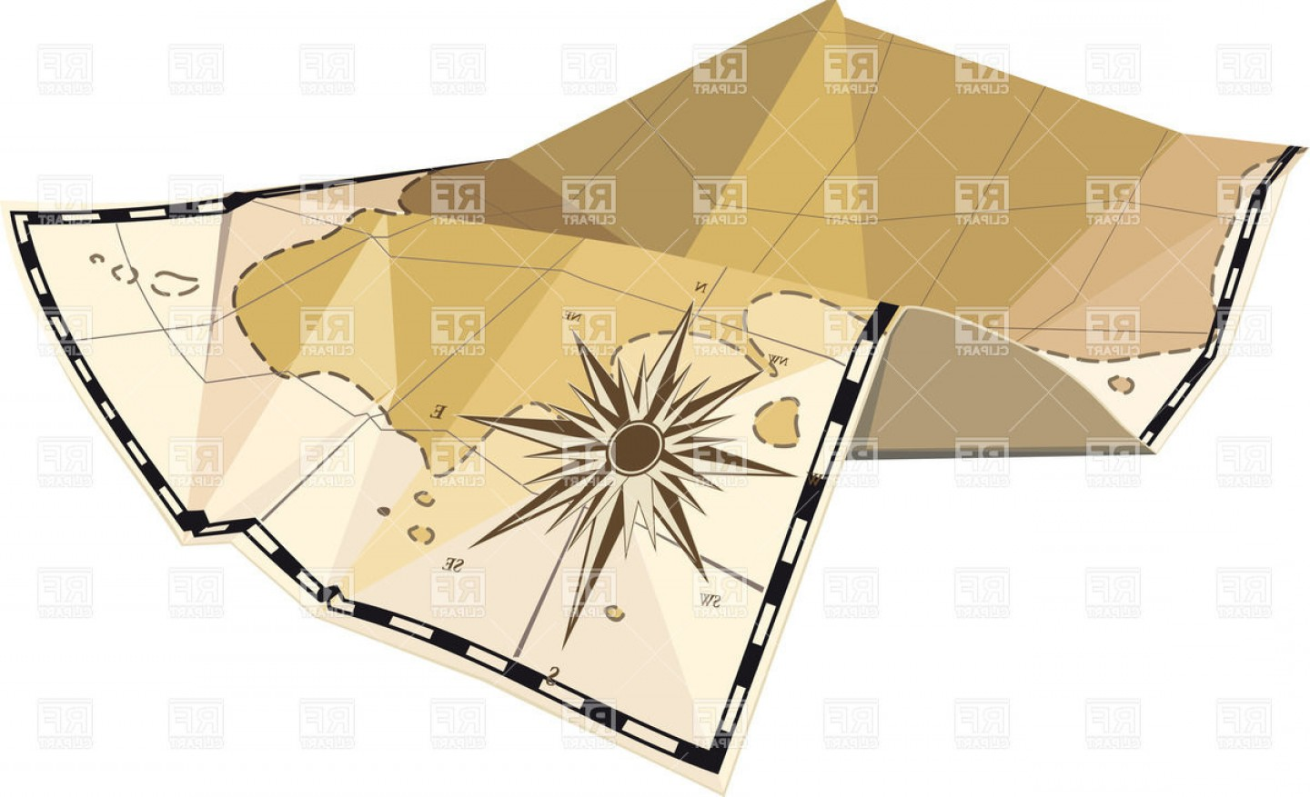 Vintage Map Clipart- Vector: Old Map Of The Island With Traces Of Folds And Wind Rose Vector Clipart