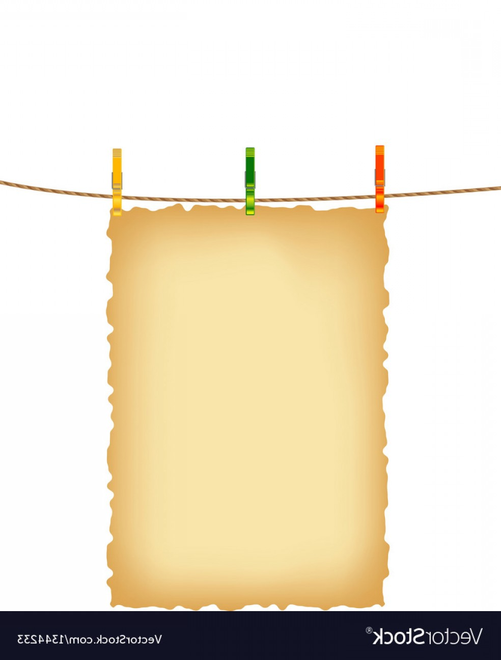 Vector Clothes Pins: Old Paper Background And Clothes Pins With Rope Vector