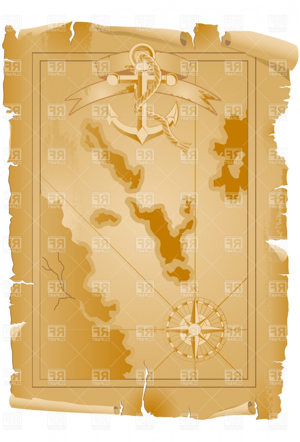 Vintage Map Clipart- Vector: Old Pirate Map With Anchor And Ribbon Vector Clipart