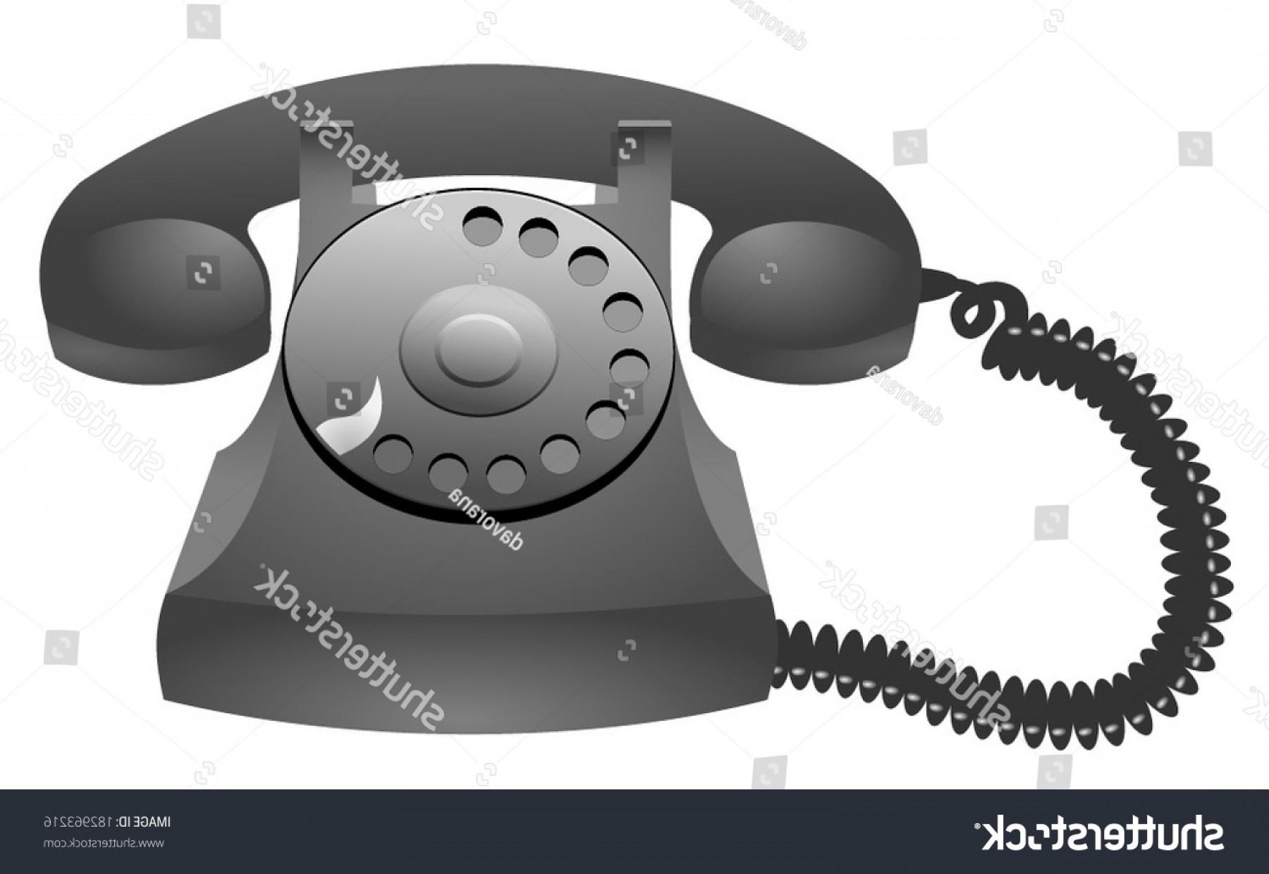 Corded Spotlight Vector: Old Plastic Black Gray Phone Icon
