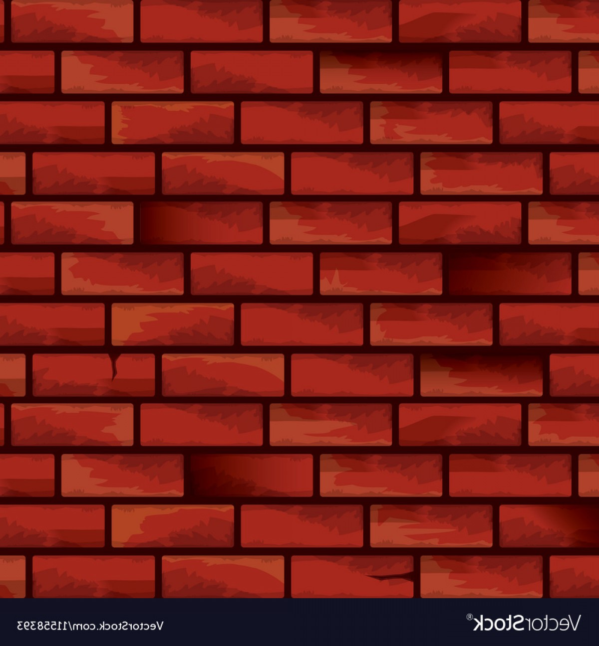 Wall Background Vector: Old Red Brick Grunge Wall Background Vector
