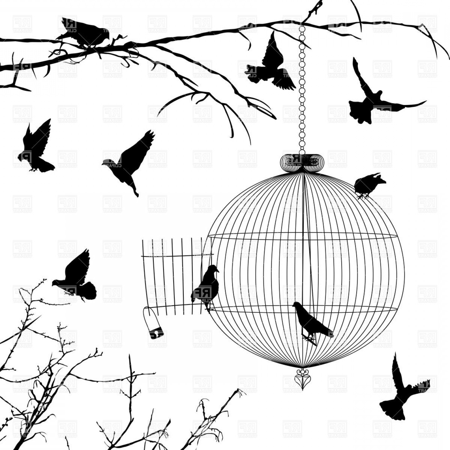 Black And White Bird Free Vector Graphics: Old Round Birdcage And Silhouettes Of Birds On Branches Vector Clipart