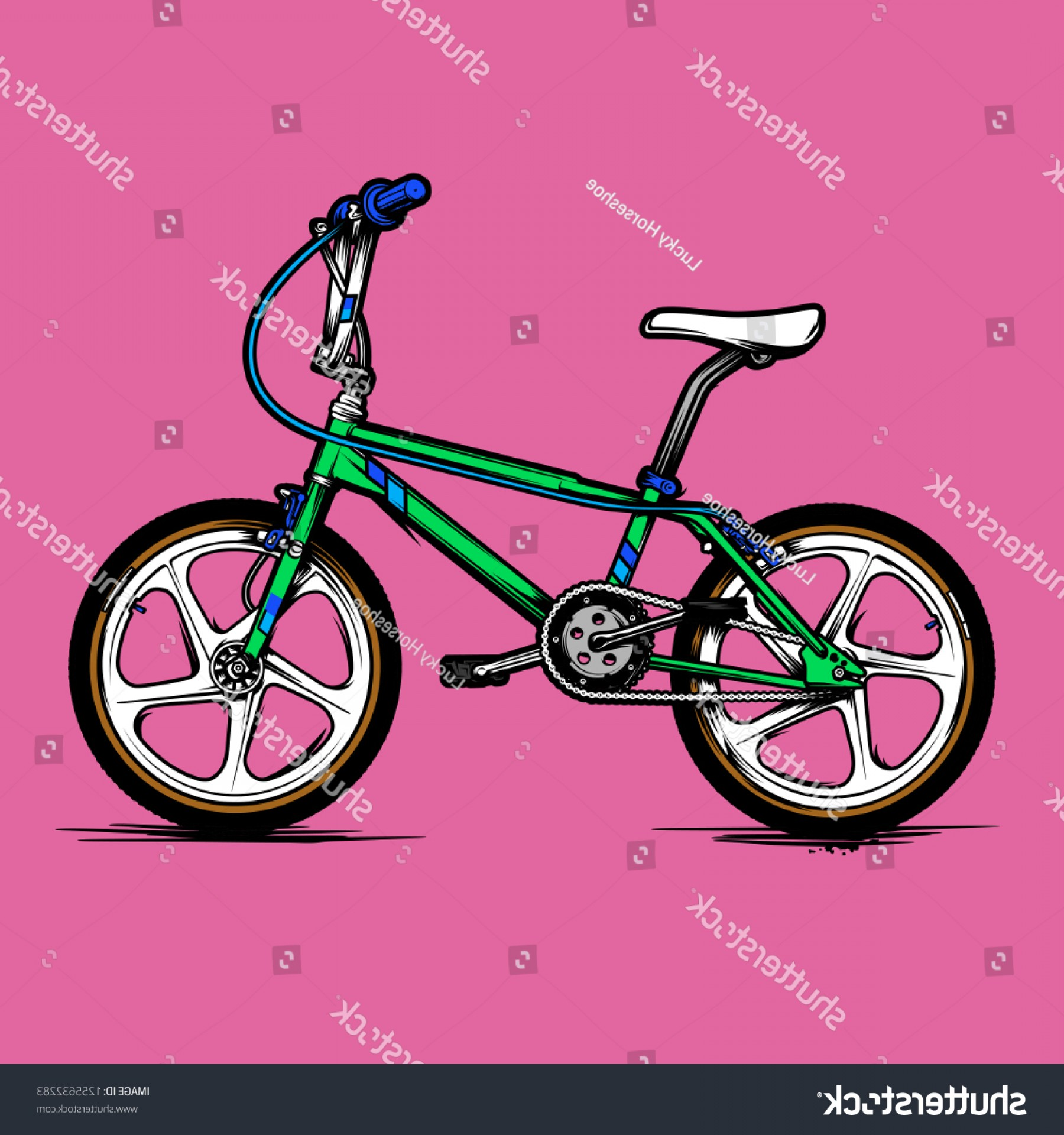 BMX Bike Tire Vector: Old School Bmx Bicycle Vector Illustration