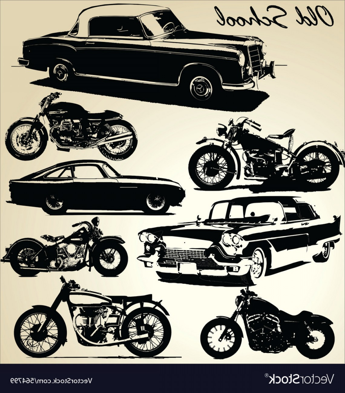 Old School Car Vector: Old School Cars And Motorbikes Vector