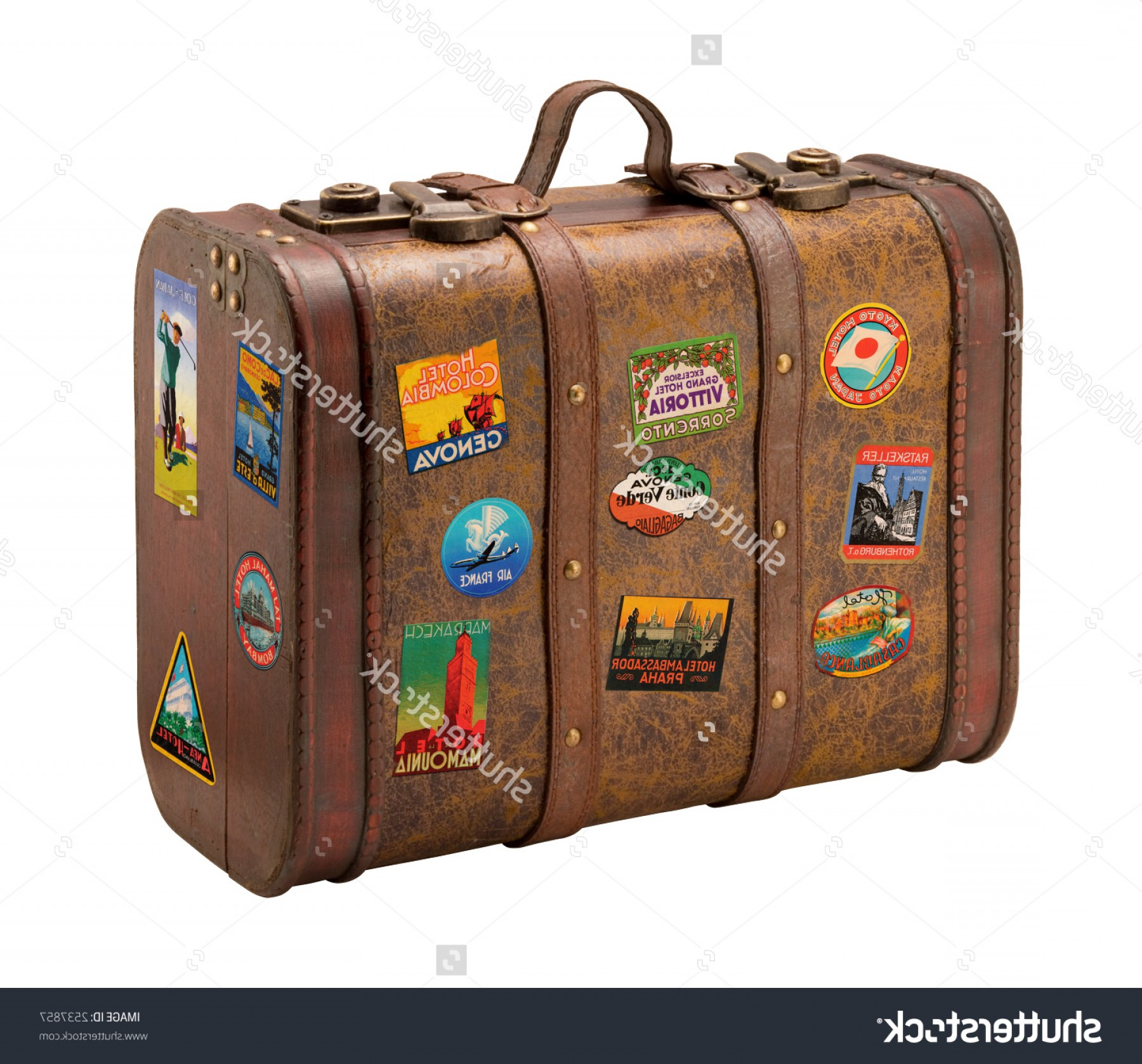 Vintage Luggage Vector: Old Suitcase Travel Stickers Isolated Clipping