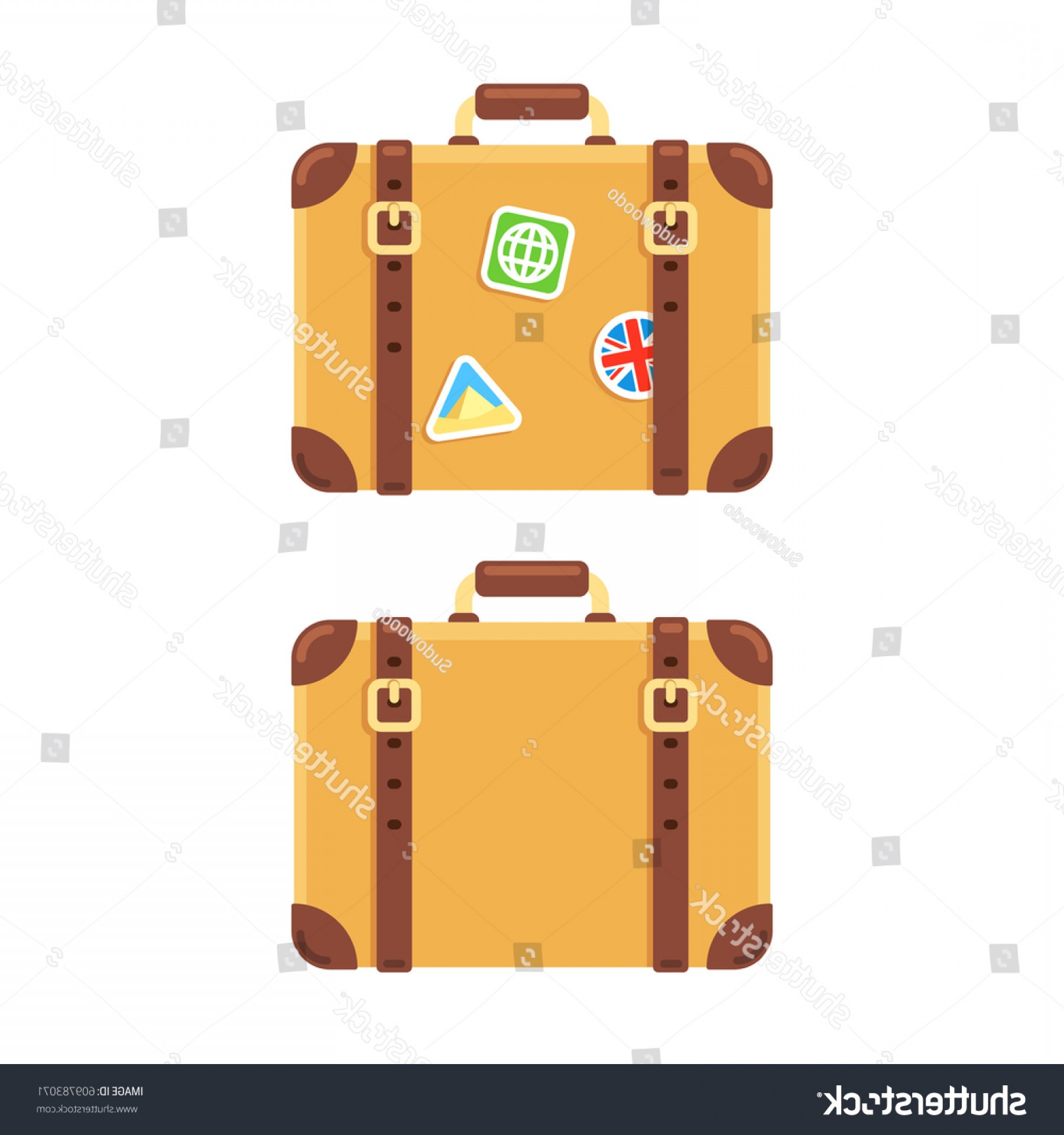 Vintage Luggage Vector: Old Vintage Leather Suitcase Plain Stickers